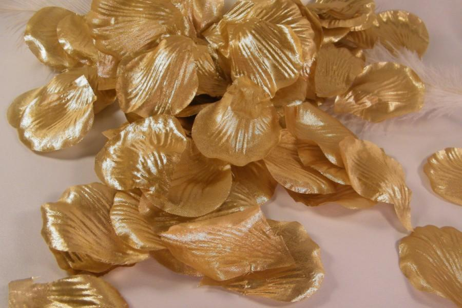 زفاف - 100 Rose Petals, Metallic Gold Party Decoration, Artificial Rose Petals, Flower Petals,Graduation Party Decor, Wedding Flower girl toss