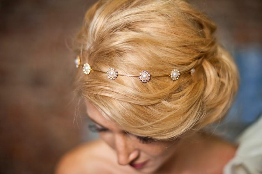 Wedding - Gold Flower girls hairband Bridesmaids gold wedding headpiece floral wedding headpiece, prom headpiece-Myleen
