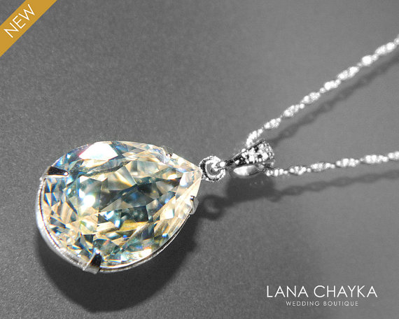 Moonlight crystal necklace swarovski moonlight rhinestone pendant moonlight crystal necklace swarovski moonlight rhinestone pendant sterling silver teardrop crystal necklace bridal necklace wedding jewelry aloadofball Image collections