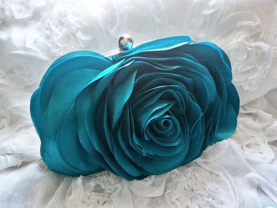 زفاف - Turquoise Blue Rose Wedding Clutch - Bridal Accessories - bridesmaid purses - prom - gift for her - Satin Bags - Rose Clutch