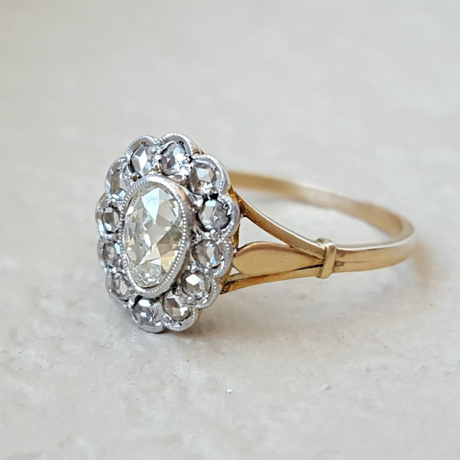 Antique Victorian To Edwardian Old Cut Diamond Pear Engagement Ring In 18k  Gold