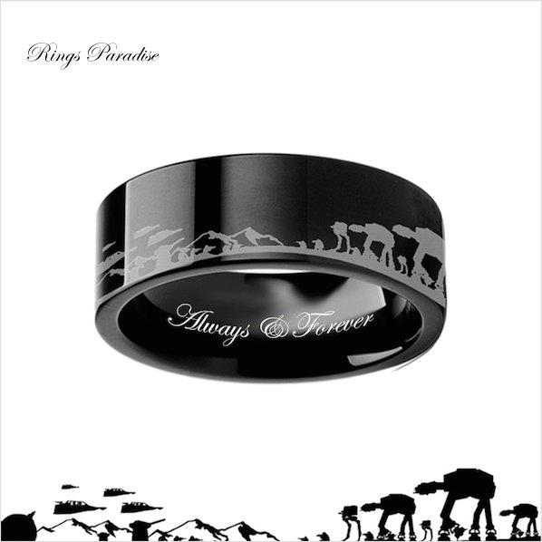 زفاف - Star Wars Ring, Alliance Galactic Imperial Invasion Engraved Ring, Flat Black Tungsten Ring, Promise Ring, Mens Black Tungsten Wedding Band