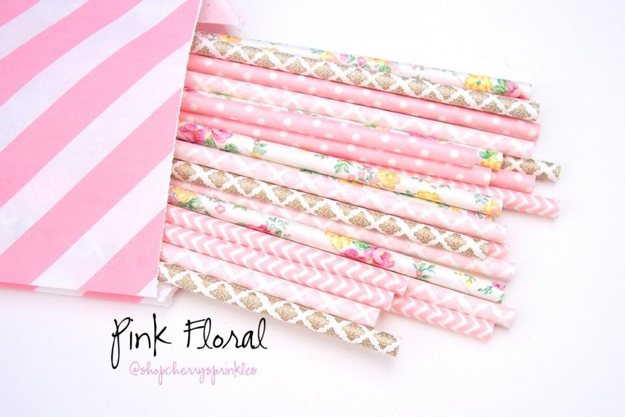 Mariage - Pink Floral Straws -Pink and Gold -Pink Straws -Gold Straws -Flower Straws *Paper Straws -Wedding decor *Gold Wedding Decor *Pink Polkadot