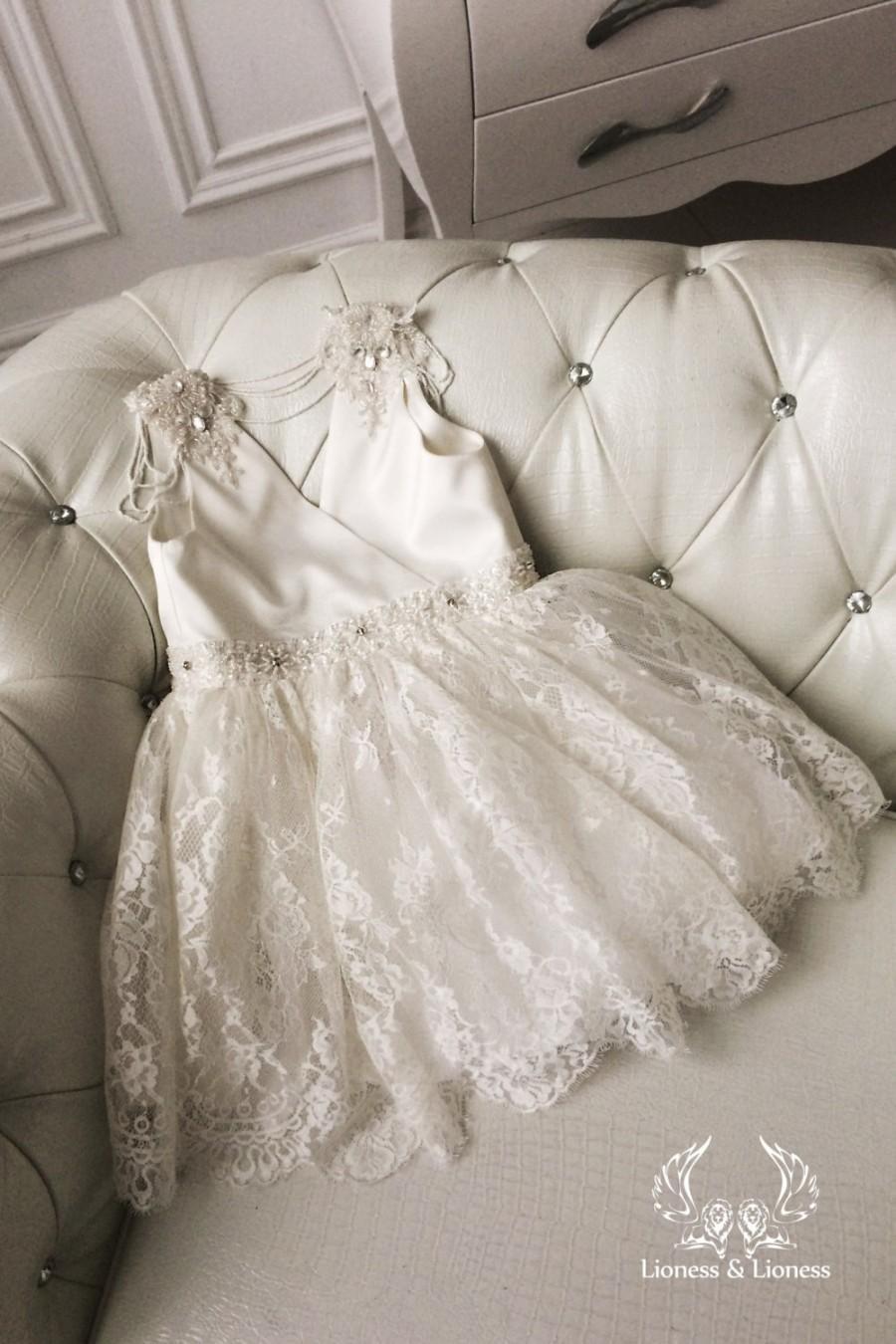 7a68e0bc90f Ivory Flower Girl Dress Flowers Dress Lace Dress Wedding Dress Birthday  Dress Toddler Tutu Dress