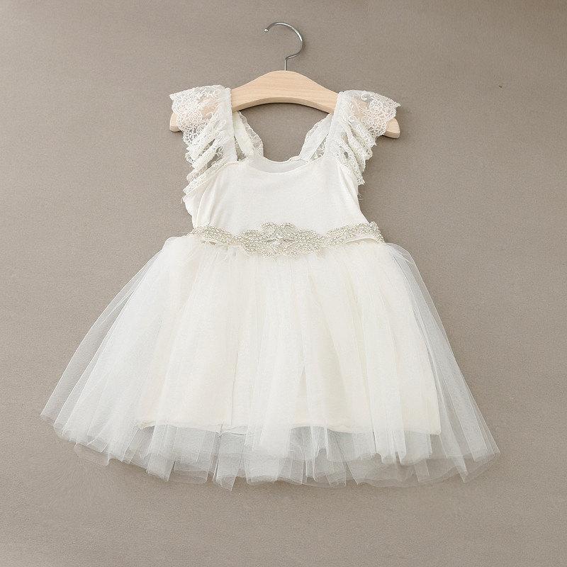 Hochzeit - Alina Bohemian Flower Girl Dress, Ivory Tulle, Lace and Rhinestone Belt Flower Girl Dress, boho ivory flower girl dress