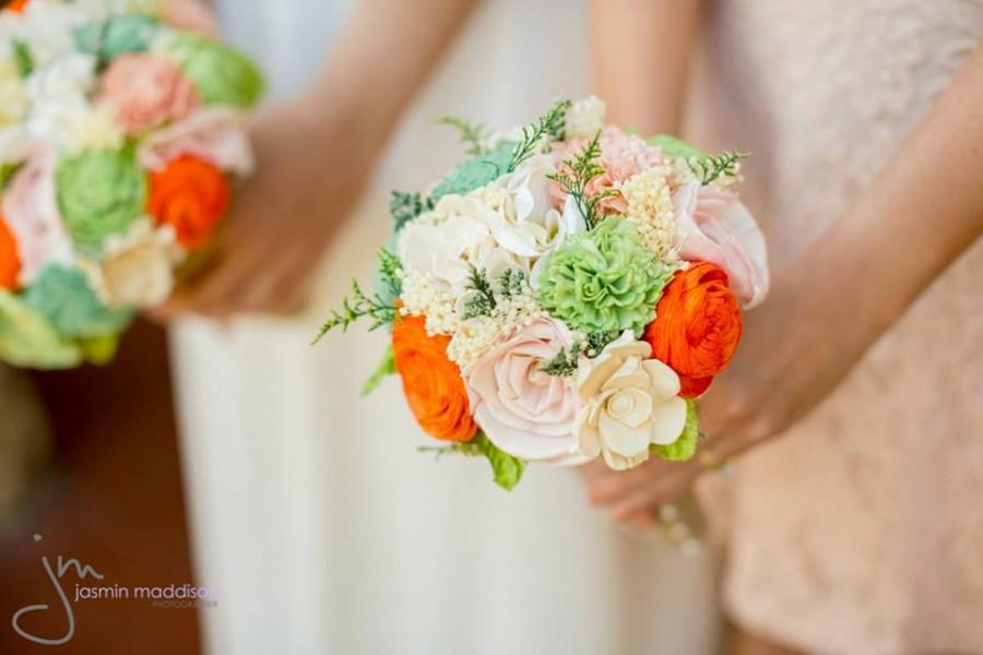 Hochzeit - Romantic Wedding Bouquet -Custom Colors Natural Bridal Bouquet, Keepsake Alternative Bouquet, Sola Bouquet, Shabby Chic Rustic Wedding