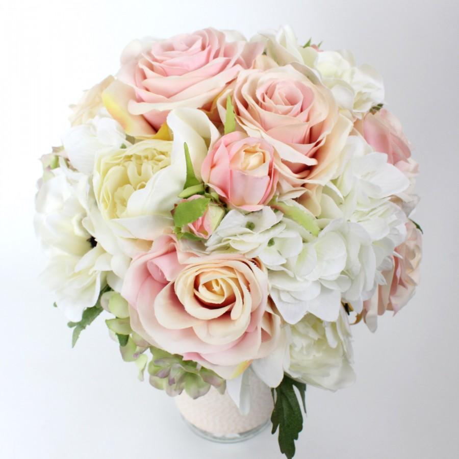 Wedding - wedding flower, bridal bouquet, wedding bouquet, keepsake bouquet, Blush Pink Pastel Roses Off White Peonies Hydrangea Bouquet