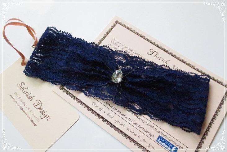 Mariage - Blue Lace Garter, Something Blue, Wedding Garter, Bridal, Royal Blue Bridal Garter, Simple garter, Navey Garter, Rhinestone Garter