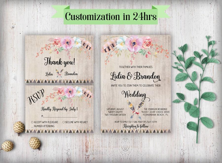 Свадьба - Floral wedding invitation printable Wedding invites rustic Printable wedding invitations set Wedding invitation with rsvp Floral wedding set