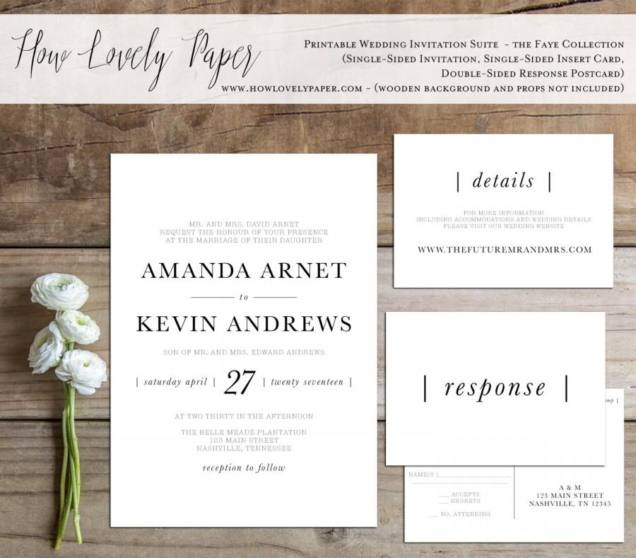 Printable Wedding Invitation Suite The Faye Collection