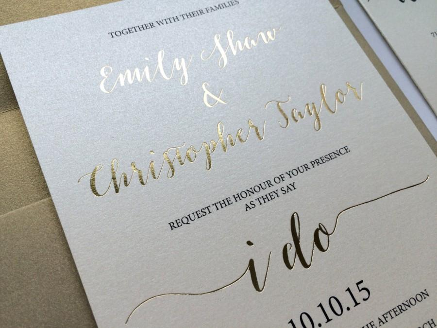 Свадьба - Gold Foil Wedding Invitation