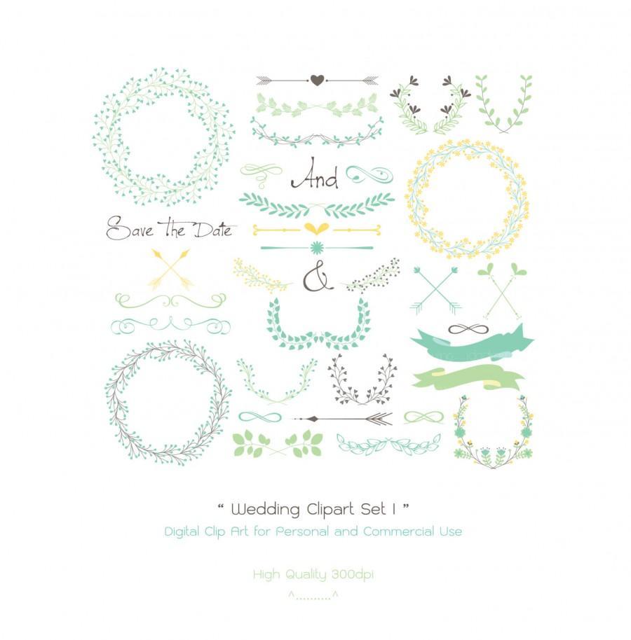 Wedding - 35 Wedding Digital Clipart Set I - Wreaths - Laurels - arrows - Wedding Invitation - Floral Frames-Wedding Card-Floral Wreaths-Flower Border