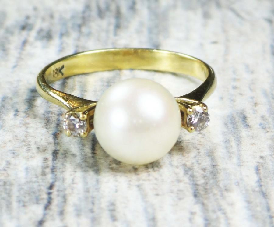 Wedding - Vintage Pearl Diamond Ring Gold Pearl Ring 18k Gold Diamond Pearl Ring Cultured Pearl Ring Japanese Cultured Pearl Alternative Engagement