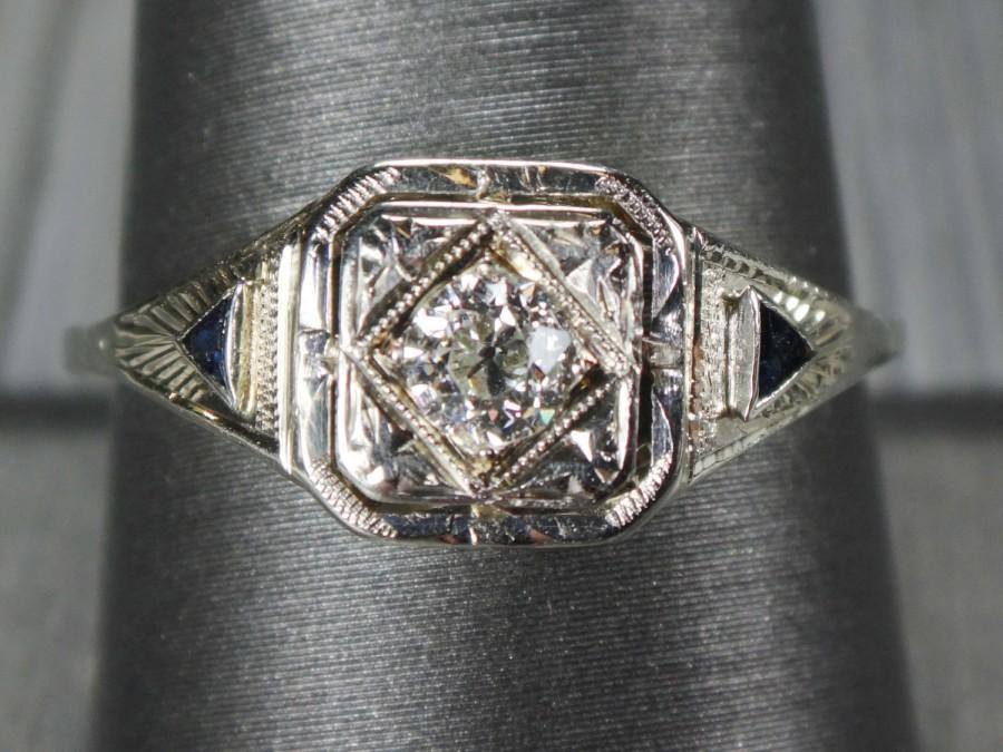 زفاف - Antique 14k Gold Diamond Ring Diamond Sapphire Ring 14k White Gold Filigree Old Mine Cut Diamond Engagement Ring Vintage Art Deco Engagement