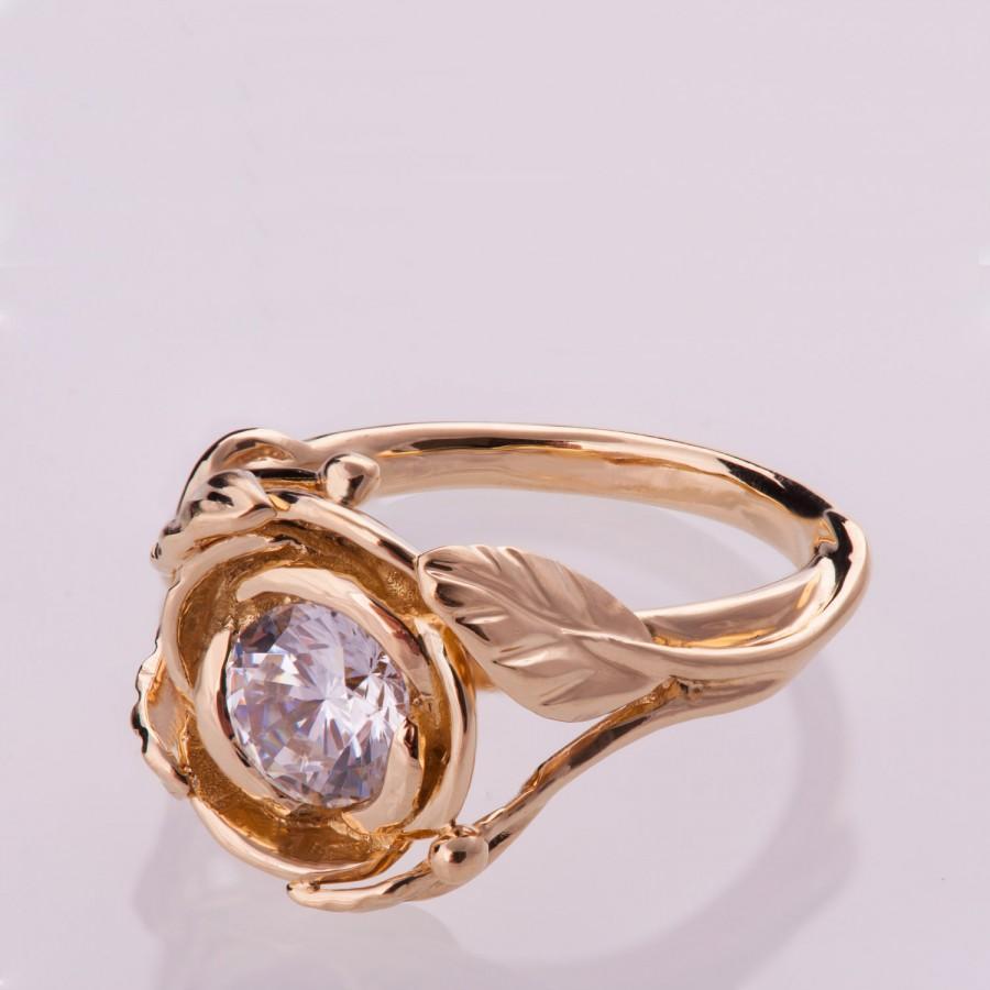 زفاف - Rose Engagement Ring - 14K Rose Gold and Diamond engagement ring, engagement ring, leaf ring, 1ct diamond, antique, Flower Ring, vintage, 6