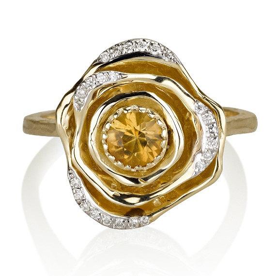 زفاف - Flower Ring, 14k Yellow Gold Ring, Floral Ring, Flower Band, Citrine RIng, Gem Ring, Cocktail Ring, Promise Ring, Gemstone Ring, Rose ring