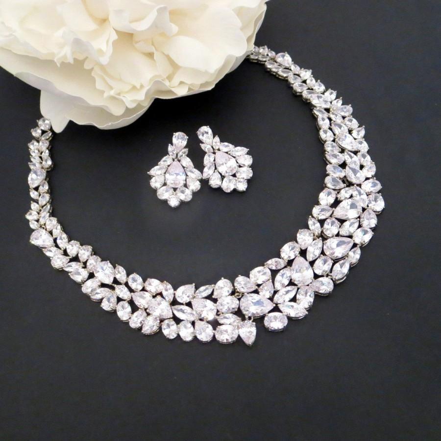 زفاف - Wedding necklace set, Bridal jewelry set, Bridal necklace, Wedding earrings, Bridal statement necklace, Crystal earrings, Crystal necklace