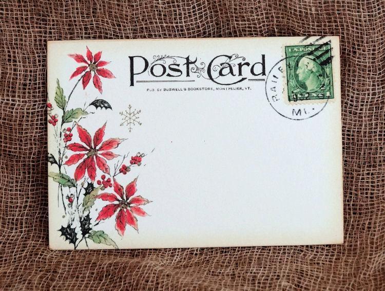 زفاف - Wedding Place Cards Vintage Style Red Poinsettia Postcard Table Place Cards, Escort Cards or Tags #379