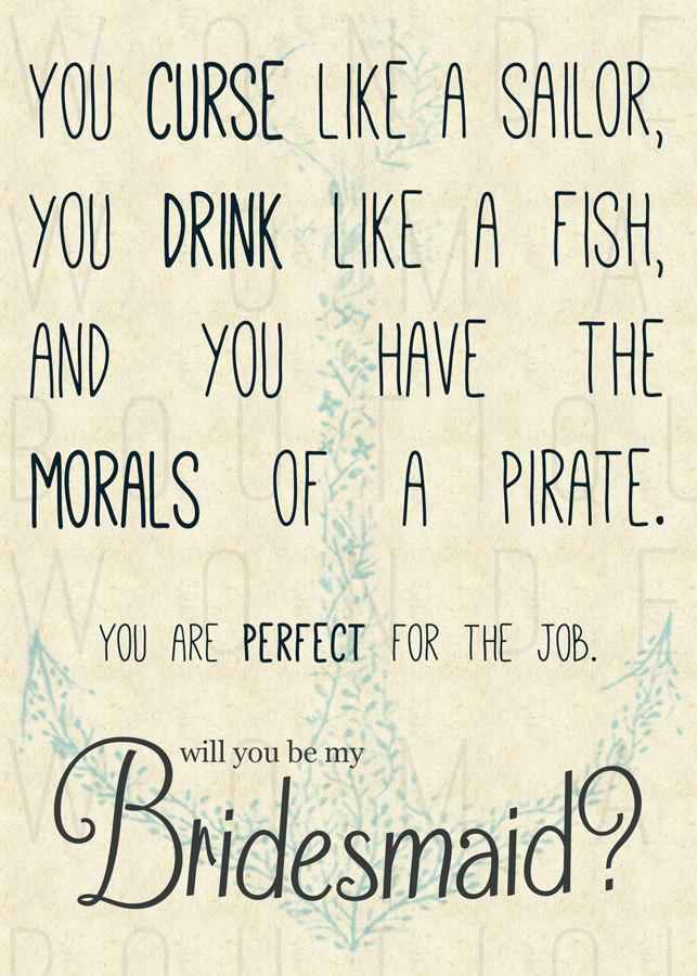 Hochzeit - Wedding Party Invitations ... Curse Like A Sailor, Drink Like A Fish