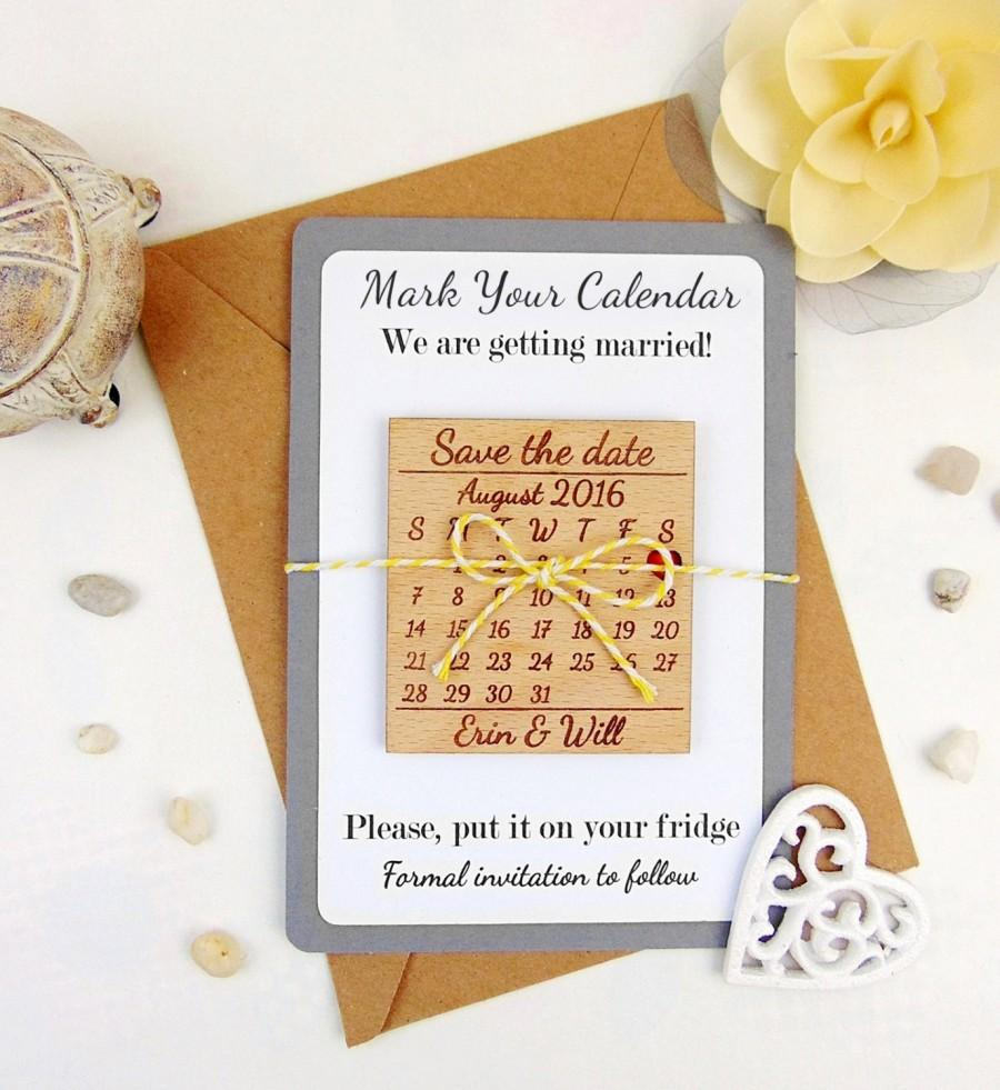 Custom Save The Date Magnet Set Wood Wedding Accessories Favors Calendar
