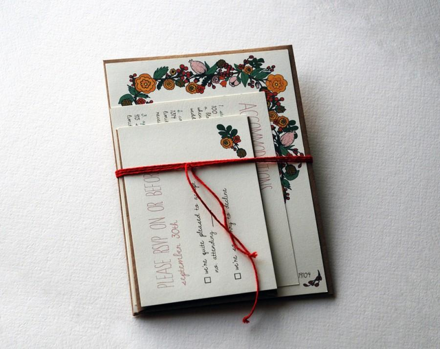 Wedding - The Ruby Collection - Vintage Inspired Floral Wedding Invitation Set in Pink, Red, Gold, Brown and Green with Kraft Envelopes - SAMPLE