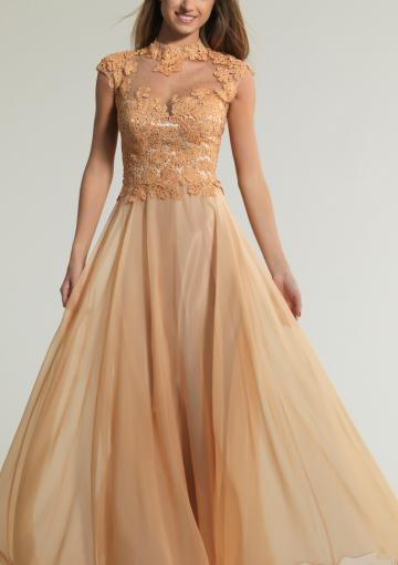 Mariage - Cap Sleeves Champagne Appliques Chiffon Floor Length High-neck Ruched A-line