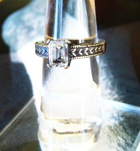 زفاف - White Topaz Emerald Cut Stone Heavy Sterling Silver Ring Genuine Gemstone handmade custom sizes 4 4.5 5 5.5 6 6.5 7 7.5 8 8.5 9 fine jewelry
