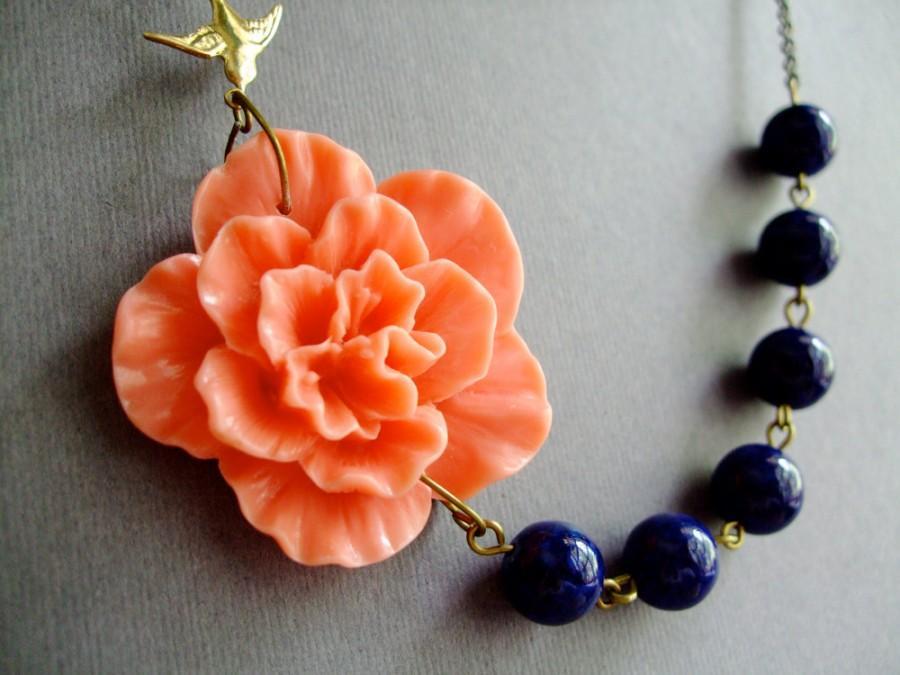 زفاف - Statement Necklace,Coral Flower Necklace,Bridesmaid Jewelry,Coral Necklace,Navy Blue Necklace,Wedding Jewelry Set,Bridesmaid Gift,Gift Her