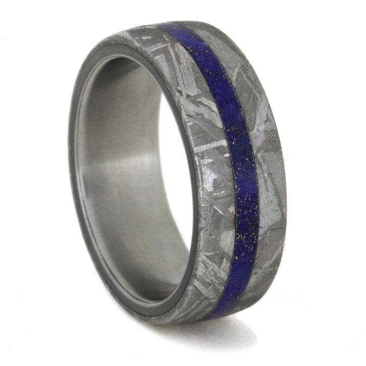 زفاف - Women's or Men's Wedding Band, Titanium Ring, Lapis Lazuli Ring, Meteorite Ring, Custom Wedding Band for Men or Women