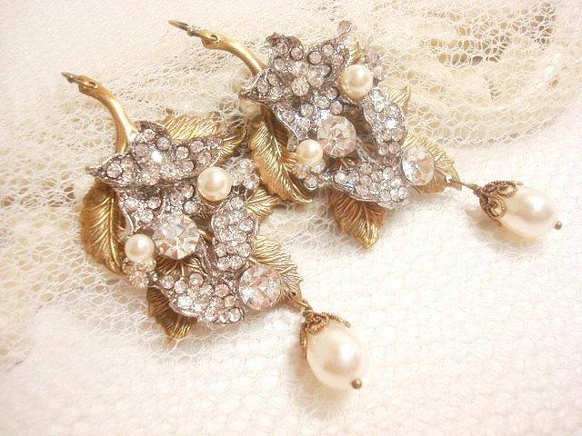 زفاف - Bridal earrings, Vintage wedding earrings, Pearl wedding jewelry, rhinestone earrings, chandelier earrings, vintage style earrings