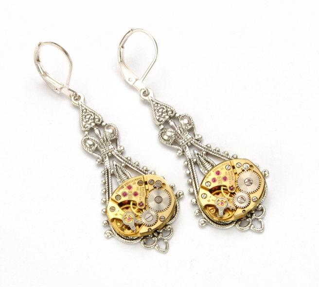 زفاف - Steampunk Earrings GOLD SILVER Steampunk Bride Steampunk Vintage Watch Dangle Earrings Steampunk Wedding Jewelry by Victorian Curiosities