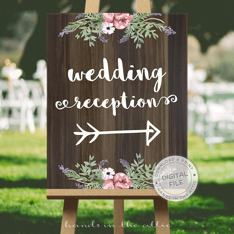 Wedding Signage Signs Ideas Reception Direction This Way Sign Digital