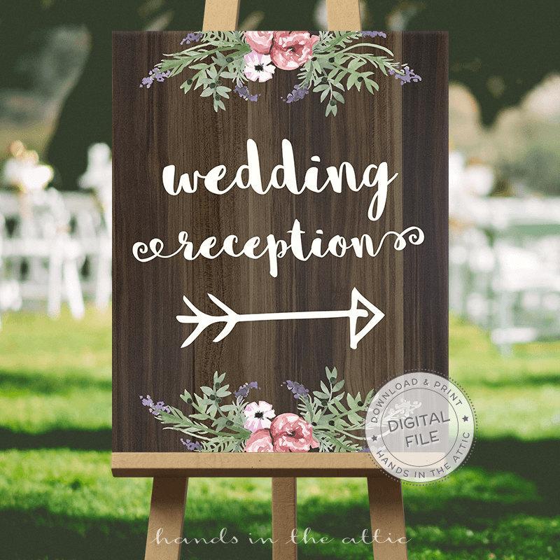 Wedding - Wedding signage, wedding signs download, wedding signs ideas - RECEPTION direction - this way sign, reception this way, DIGITAL download
