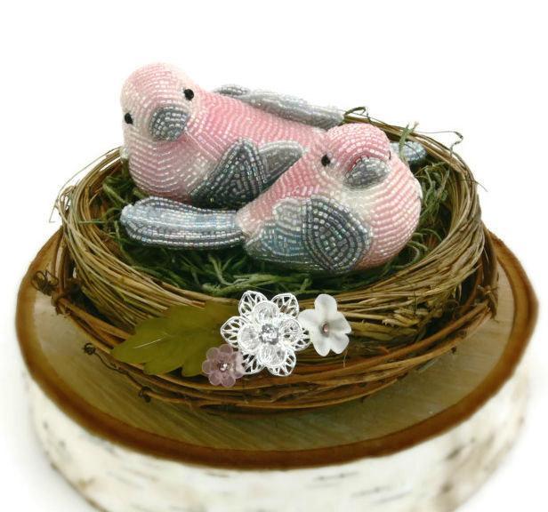 Свадьба - Pink Bird Wedding Cake Topper Beaded Love Bird Couple Spring Wedding Floral Twig Nest READY TO SHIP