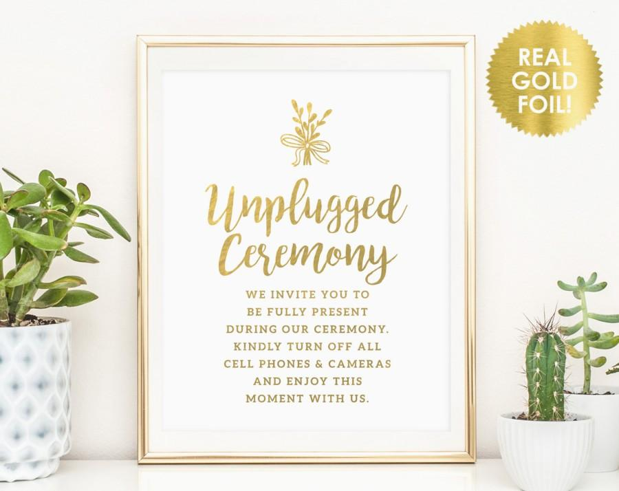 unplugged ceremony signs unplugged wedding sign no cell phone sign no photography sign real foil sign reception sign peony theme