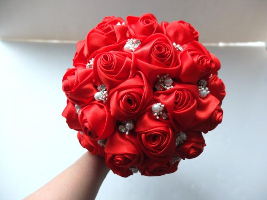 Mariage - Handmade Satin Rose Bouquet- All Red Satin Rose accented with rhinestone (Medium, 7 inch)
