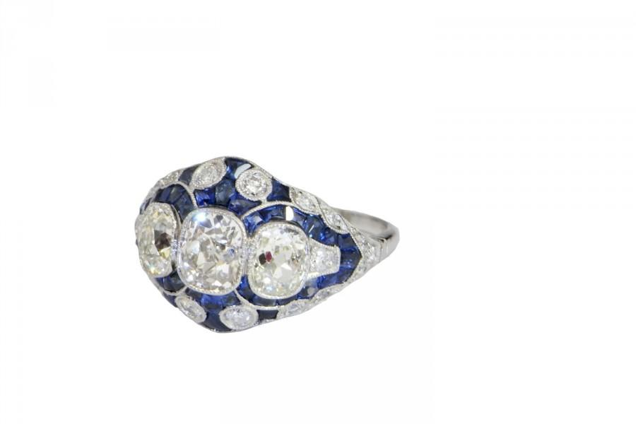 زفاف - Art Deco Engagement Ring 1920s Engagement Ring Platinum Diamond Ring Sapphire Engagement Ring Old Cut Diamond Old European Cut