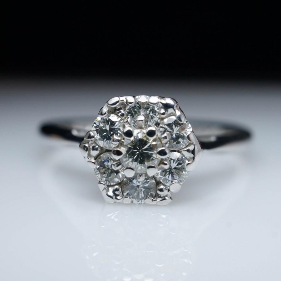 زفاف - Vintage .53ctw Diamond Cluster Engagement Ring in 14k White Gold ~ Dainty Delicate  Cathedral Ring ~ Free Sizing