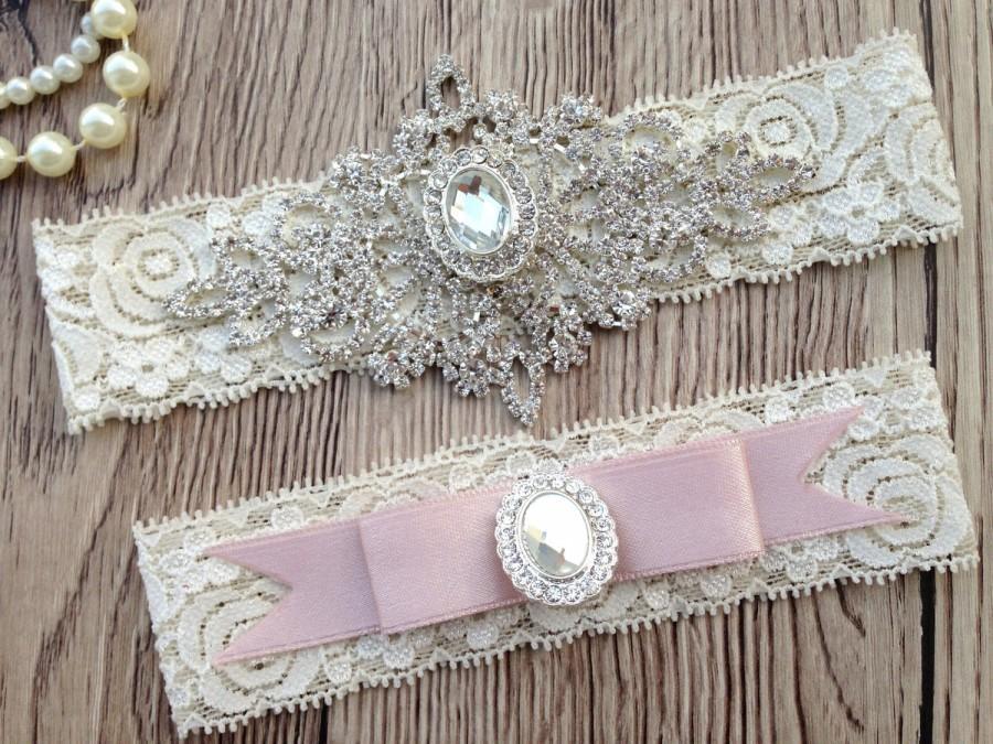 Свадьба - Wedding Garter - Pink Bridal Garter Set - Pink Garter - Crystal Rhinestone - Pink Lace Garter Belt - Rose Pink Garter - Rose Wedding Garter
