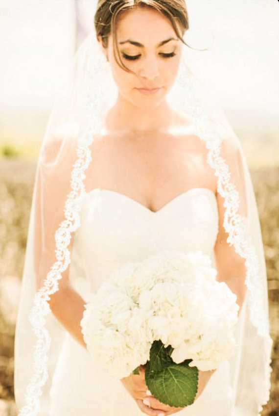 """Mariage - Lace Veil 54"""" in Width  and is Laced to the Comb"""