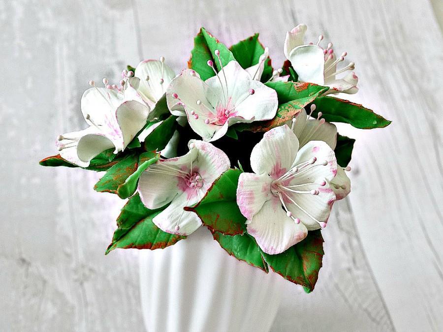 Mariage - Cake decorations, Clay cake topper, Cherry blossom flowers  wedding cake topper, birthday, communion, celebration cake , Set of 7