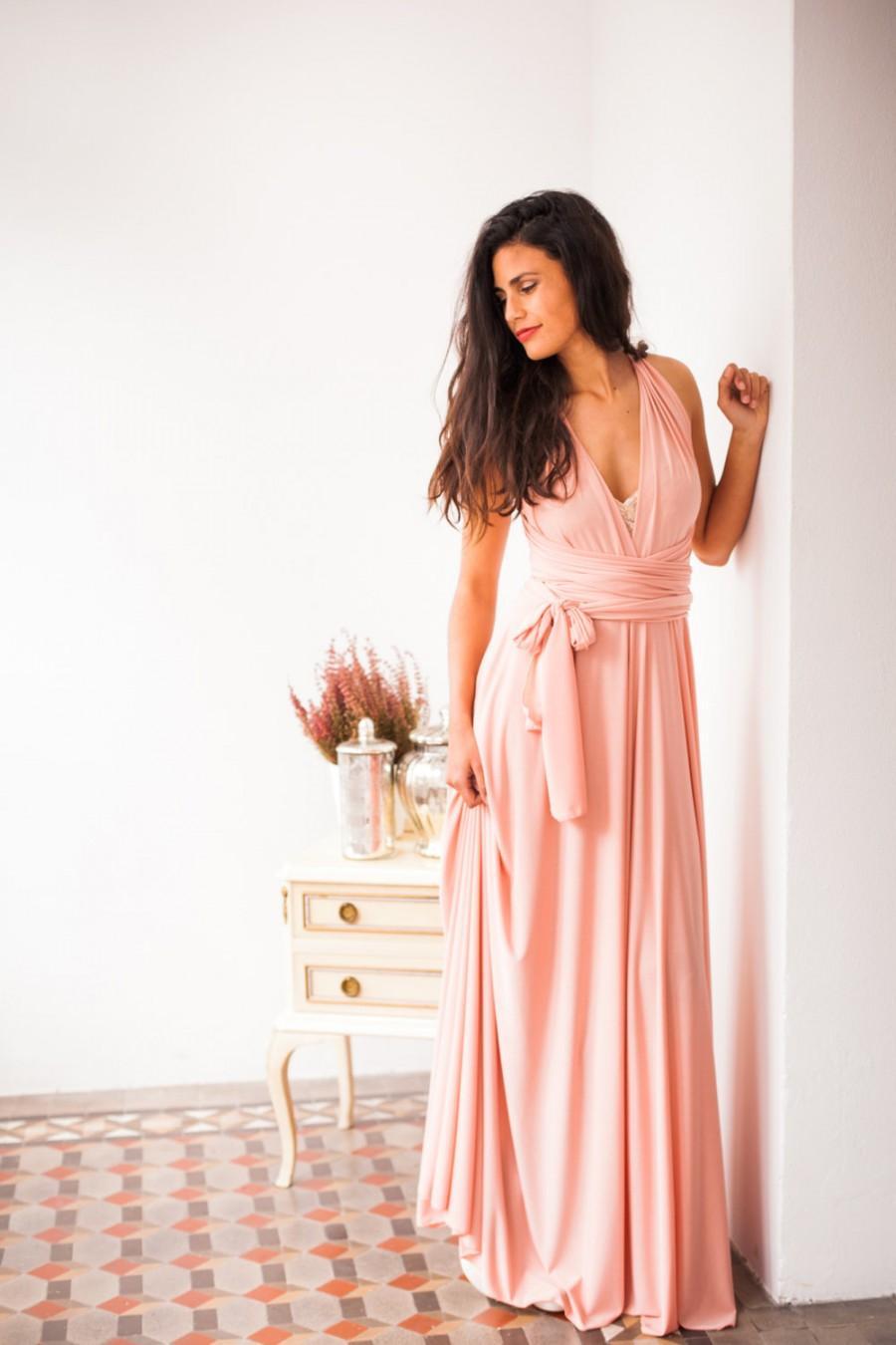 Peach Bridesmaid Dress Long Infinity Light Pink Maxi Event Convertible