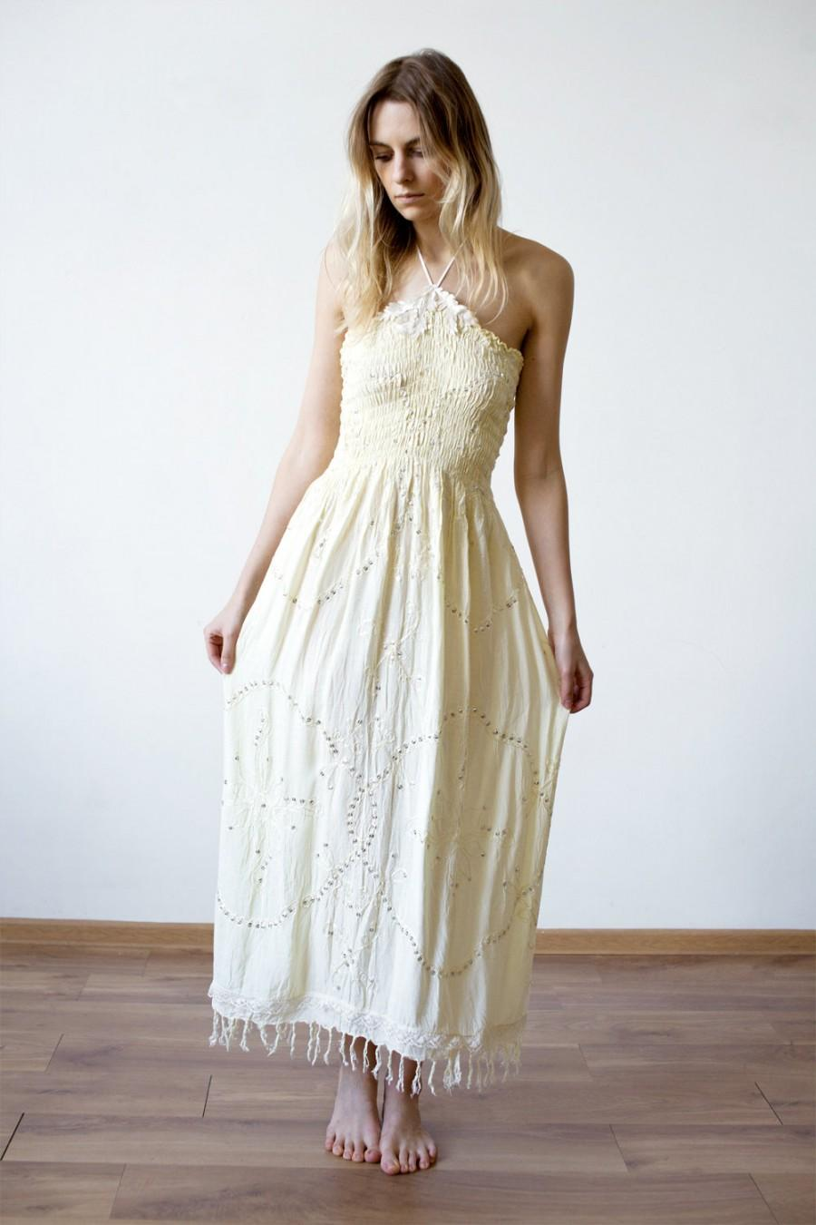 Wedding - Yellow pastel halter cotton dress