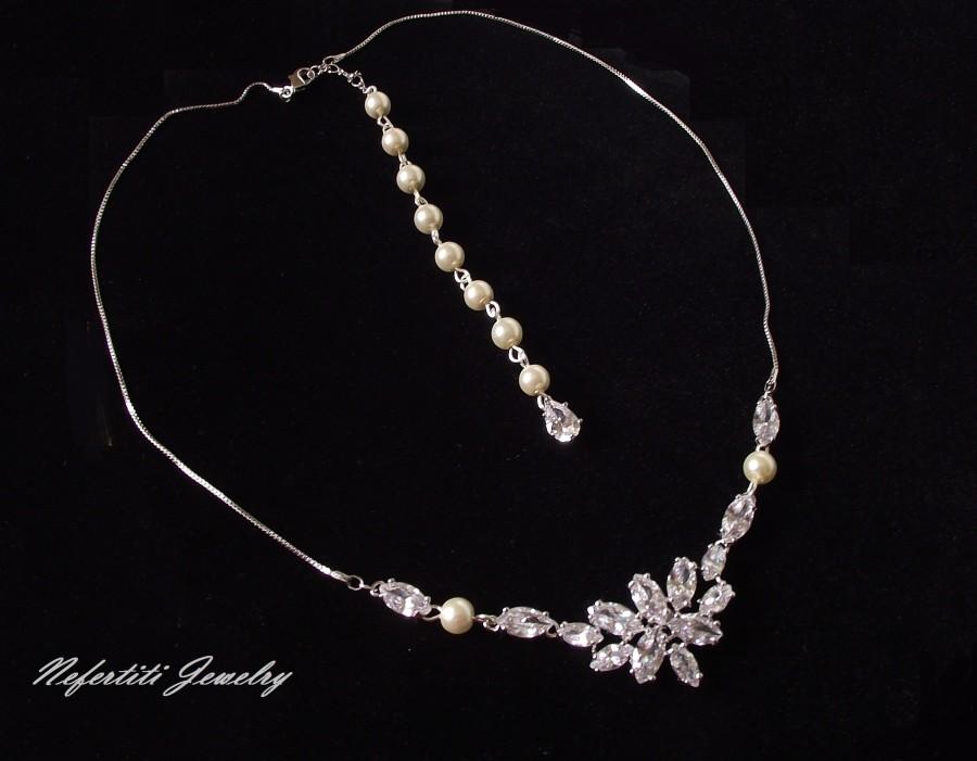 Wedding - bridal necklace, wedding necklace, backdrop pearl necklace