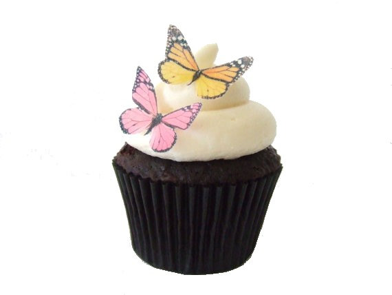 Свадьба - 24 Edible Butterflies - 24 Mini Pink and Yellow  - Cupcake Toppers Edible Paper Cake Decorations
