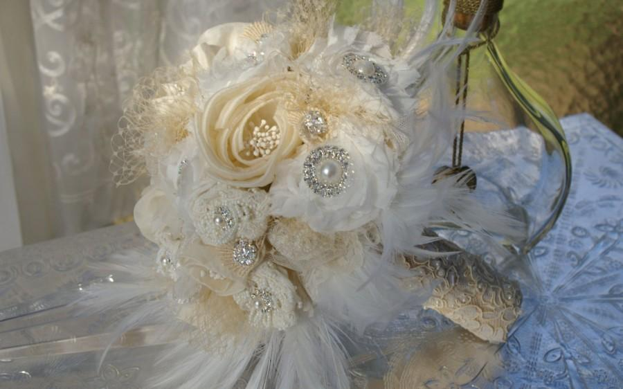 Mariage - Gatsby Brooch Bouquet Ivory Champagne White Cream