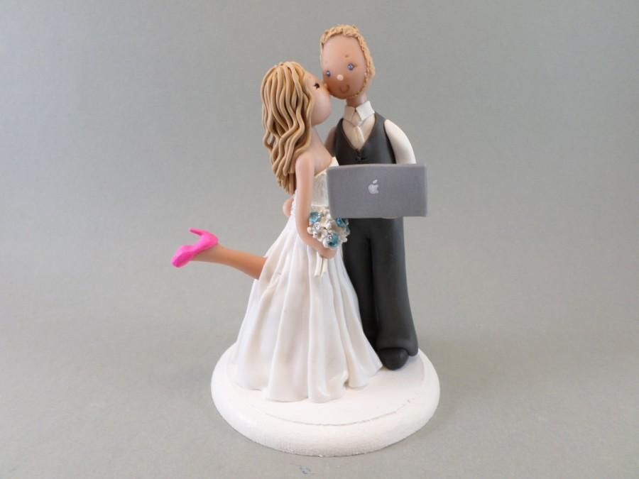 Customized Bride Groom Computer Geek Wedding Cake Topper