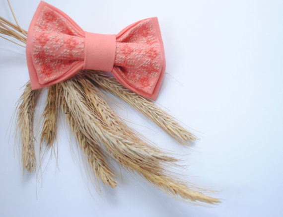 Wedding - Peachbo Bow tie Wedding bow tie Peаch bowtie Embroidered bow tie Groomsmen For wedding in salmon Fliege pfirsich Noeud papillon Pink Necktie
