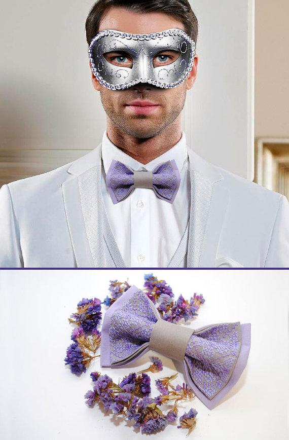 Mariage - Lavando Bow tie for lavender wedding Mariage de lavande Lilac grey groom's bowtie Wedding bow tie Father of the bride Ring bearer outfit РІ5