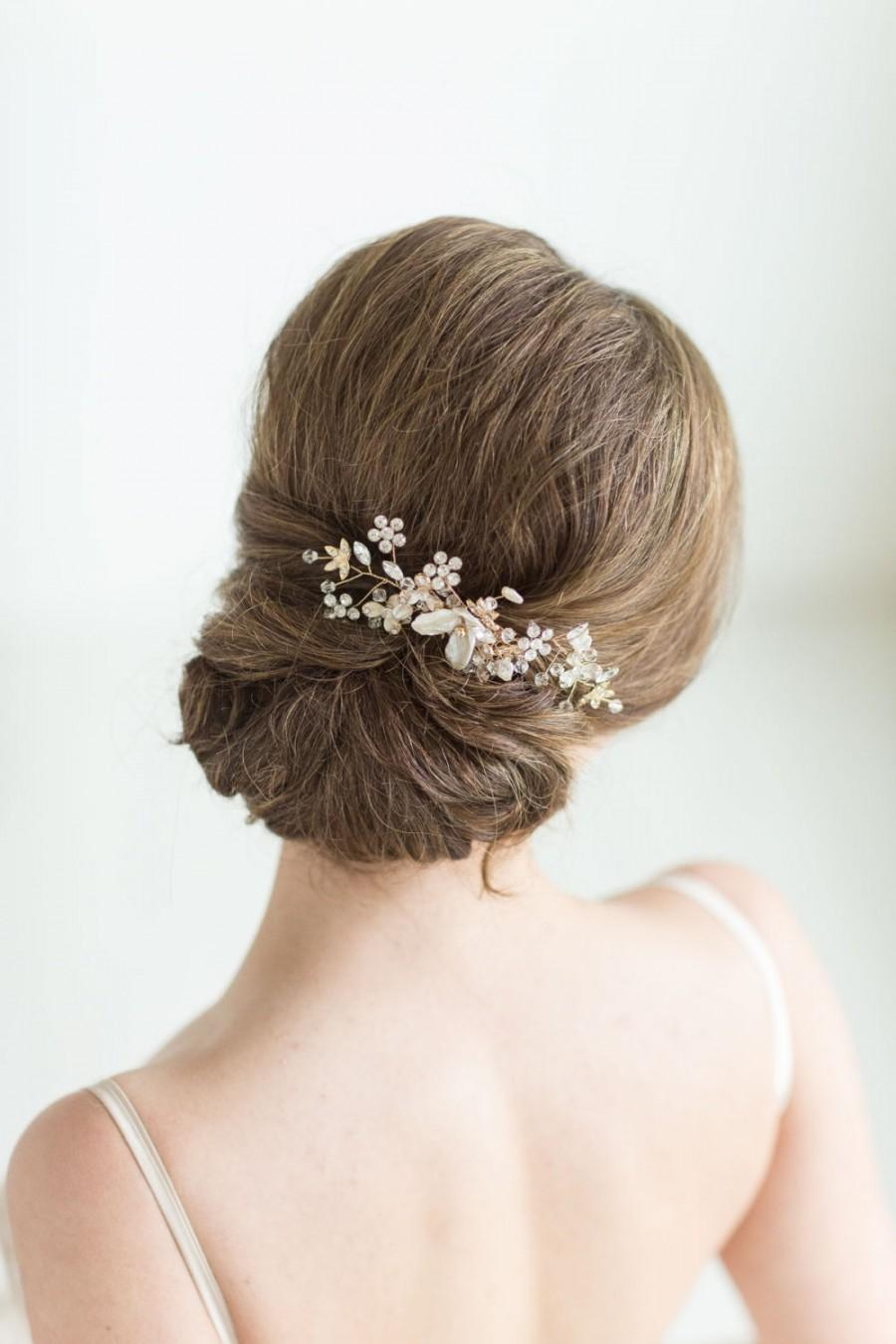 Mariage - Gold Bridal Hair comb, Wedding Head Piece, Rhinestone Hair comb, Wedding Hair Accessory